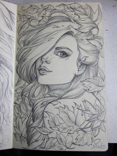here is another drawing from my moleskine. I had fun with paeony flowers on this one. They are a complex flower to draw, but are worth the time. Anyway just another random picture for . Amazing Drawings, Beautiful Drawings, Cool Drawings, Drawing Sketches, Amazing Art, Sketching, Pretty Drawings Of Girls, Sketches Of Girls, Beautiful Girl Sketch