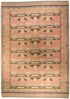 A modern second quarter 20th century Scandinavian rug, the dusty rose field overall with zigzag stripes framing geometric motifs overall in brown, gray, beige and yellow within a border with primarily curvilinear shapes in a similar color palette.  Watch full size video of A Scandinavian rug, Circa 1940, ID BB4582 - Video