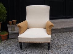 Square Library chair with calico seat and back and hessian arms.   Height: 91cm  Width: 81cm  Depth of seat: 50cm