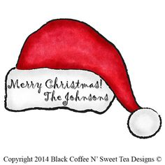 Santa Hat Stickers Personalized Personalized by Black Coffee N' Sweet Tea Designs $5.95 per sheet with choice of sizes. Use PIN10 Coupon Code for 10% any purchase!