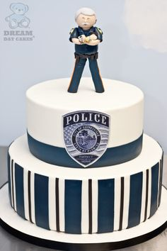 Police cake except on top he want the cop to be tazering a bud guy, haha four year olds!