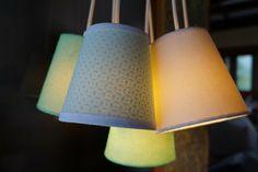 Luminária Pendente Com 7 Cúpulas Revestidas com Tecido