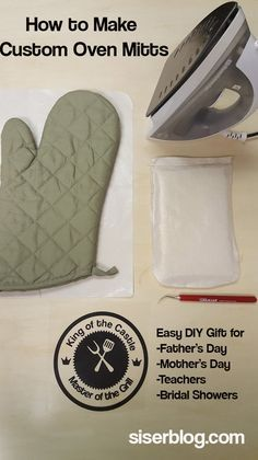Create custom oven mitts with this easy tutorial. DIY oven mitts make great gifts for Mother's Day, Father's Day, teachers, or bridal showers! All you need is Siser heat transfer vinyl and a home iron. EasyWeed looks awesome on this oven mitt! siserblog.com