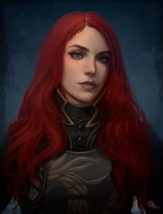 Fantasy Portraits, Fantasy Paintings, Character Portraits, Fantasy Artwork, Redhead Characters, Fantasy Characters, Female Characters, Fantasy Girl, Fantasy Warrior