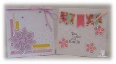 Twee kaartjes van 10x10cm. Gebruikte materialen, washitape, twine, inkt en wat stempels, waaronder van Stampin'Up! Petite Petals en Petal Potpourri