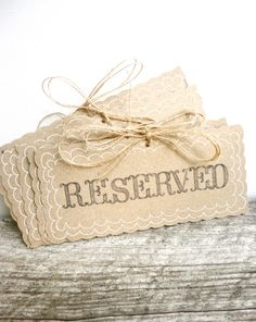 Reserved wedding signs by The Paper Walrus. So many more rustic wedding details that we ♥ http://www.etsy.com/listing/107364710/reserved-wedding-signs-rustic-weddings