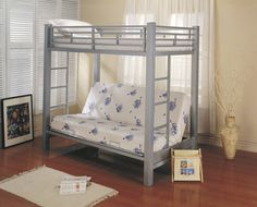 Twin Over Twin Futon Metal Bunk Bed - Silver