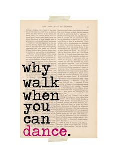 dictionary art vintage Why Walk When You Can by ExLibrisJournals, $9.00
