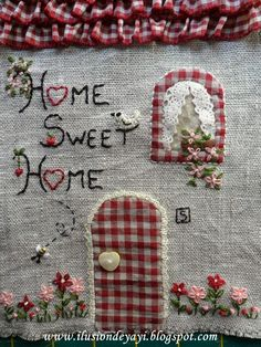 Home sweet home applique! Hand Applique, Wool Applique, Applique Quilts, Embroidery Applique, Embroidery Stitches, Embroidery Patterns, Quilt Patterns, Fabric Crafts, Sewing Crafts