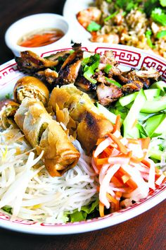 Rice Vermicelli with Barbecue Chicken and Spring Rolls at Pho My Lien