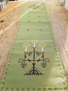Beautiful christmas cross stitch embroidered  tablerunner in linen from Sweden