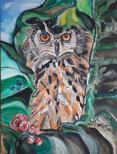 Eule, owl, Acrylicpaintings, Acryl und Sand auf Leinwand, Acrylmalerei (80 x 60 cm) September 2018 September, Painting, Art, Owls, Canvas, Art Background, Painting Art, Kunst, Paintings