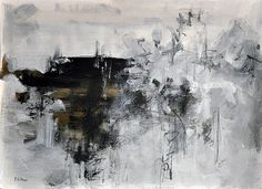 """Original Abstract Painting on Paper Neutral Black and White Original Art 12x16,5"""""""
