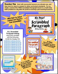 FREE SCRAMBLED PARAGRAPH Lesson~ This fun, print-and-go activity contains a scrambled paragraph with 8 sentences that can be put together only one way. Students assemble these paragraphs using transitions and inferential clues.  Like training wheels on a bicycle, working with scrambled paragraphs helps students understand how to write logical, organized paragraphs!  This is just one of many great freebies available in the Common Core English Language Arts: Free Back-to-School eBook Grades…