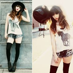 Leather Hat, Wildfox Couture Stormy Cami, Jeffrey Campbell Lana Heels