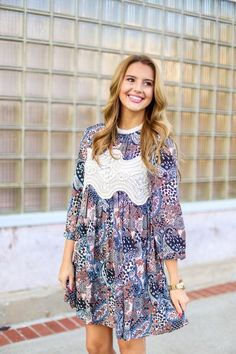Printed Peasant Dress,  $48.99, Free Shipping | fall fashion, fall style, women's fall fashion, women, boutique, fall outfit, lace, black, orange, blue, navy, embroidery, crochet, neck, petite