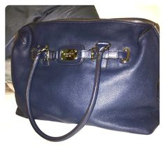 Michael Kors Leather Handbag/Satchel LIKE NEW, PERFECT CONDITION! Navy with silver hard wear. LOTS of pockets inside which is AWESOME! This is a MUST HAVE. Retails for over $300.  16 X 22 X 4 Michael Kors Bags Satchels