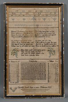 Needlework Sampler, Charlotte Jewell Aged 10 years Midsummer 1821, England