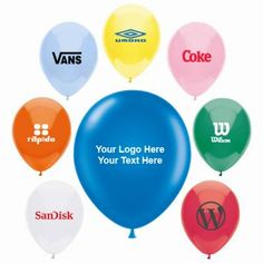 Custom Printed AdRite Economy Line Latex Balloons Custom Balloons, Latex Balloons, Blue Yellow, Red Green, Orange, Trade Show Giveaways, Brand Promotion, Light Blue, Packaging