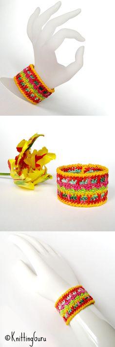 Tulip Crochet Cuff Bracelet