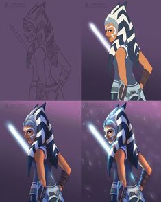I wanted to share my process for illustrations like my most recent one of Ahsoka This painting took about 3 hours and I use PaintTool Sai for painting. Star Wars Rebels, Star Wars Clone Wars, Star Citizen, Ashoka Star Wars, Star Wars Drawings, Star Wars Jokes, Star Wars Girls, Ahsoka Tano, Star Wars Ships