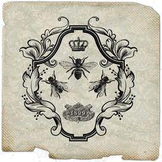 VIntage Bee     paris france fleur de lys crown paris royal ephemera gift tag label napkins burlap pillow Sheet n.785. $1.00, via Etsy.
