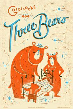 Goldilocks and the Three Bears Illustrated Art Print by Julian Baker