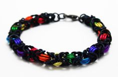 Hey, I found this really awesome Etsy listing at https://www.etsy.com/listing/130629306/chainmaille-bracelet-rainbow-lgbtq-pride