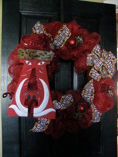 Arkansas Razorback Christmas  Wreath by GodsLovingGrace on Etsy, $65.00
