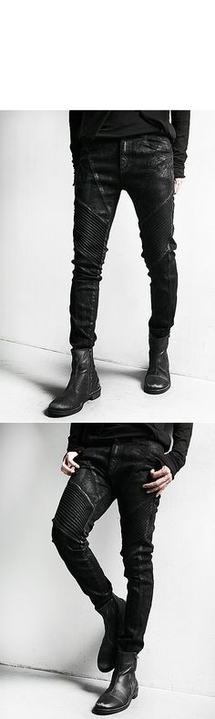 Bottoms :: Dark Cloud Washing Skinny Black Biker Jean - 64 - New and Stylish - Fast Mens Fashion - Mens Clothing - Product
