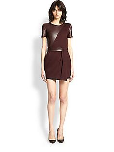 The Kooples - Leather-Paneled Crepe Dress