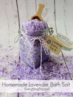Homemade Lavender Bath Salt Tutorial #diy