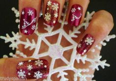 Christmas Snowflakes Bows Reindeer Design 3D Nail Art Stickers Decals Transfers #red #christmas #winter