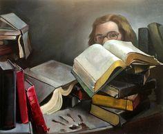 Priscilla Warren Roberts, Self portrait with books