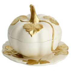 Gold Table Settings: Melon Tureen Matt White & Gold & Stand | Gracious Style