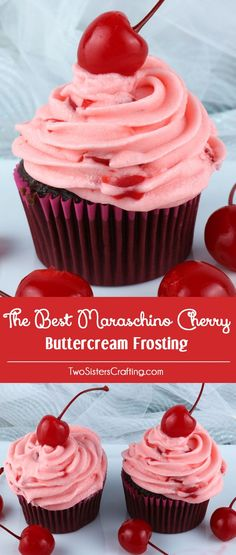 The Best Maraschino Cherry Buttercream Frosting - our delicious buttercream frosting flavored with yummy Maraschino Cherries. It is very delicious and is so easy to make If you love Maraschino Cherries you want to put this yummy frosting on every cake and Brownie Desserts, Just Desserts, Delicious Desserts, Dessert Recipes, Cake Frosting Recipe, Homemade Frosting, Cupcake Frosting, Cupcake Cakes, Homemade Cupcake Recipes
