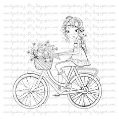 Rezultat iskanja slik za Girl On A bike all dressed up stamps