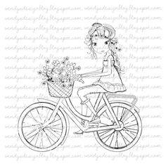Rezultat iskanja slik za Girl On A bike all dressed up stamps