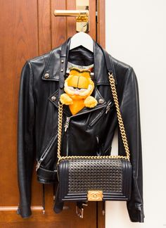 Garfield and a badass leather moto, need we say more? http://www.thecoveteur.com/meg-baby/