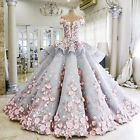 Flower Bows Applique Wedding Dress Bridal Gown Custom Plus Size 6 8 10 12 14 16