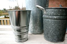 Use vinegar to turn a new shiny metal bucket into an aged, galvanized looking one with lots of character! Who knew? Psyched to know now!