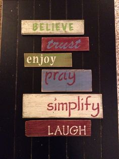 Wall of words pallet art, wooden signs, rustic, distressed, pray, simplify, barn boards on Etsy, $40.00