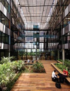 Ecosciences Precinct: Glass louvres allow a view of the greenery from the offices. Image: 360 degrees