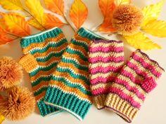 こんにちは、ゆきまるです。かぎ針編みのハンドウォーマーの編み図、描けましたー!! ということで、今回はようやく編み図と作り方・レディースサイズ編です。 サイズ 手のひら回り約19cm 長さ約16.5cm 【かぎ針編みのハンドウォーマの編み図と作り方】 【用意するもの】 *合太タイプの毛糸 今回はパピー・プリンセスアニー541番・552番・547番を使用。*かぎ針5号 3号*とじ針 【ゲージ】 *模様編み縞 8目3段1模様 8目3.2cm×3段2cm 【編み図】 手先側から、わで編み進めます細編みの段のみ編む方向が異なります。(細編みの段は裏を見て編みます。) 【編み方のポイント】 鎖48目作り… Lace Gloves, Fingerless Gloves, Crochet Mittens, Arm Warmers, Knitting, Pattern, How To Make, Handmade, Hands