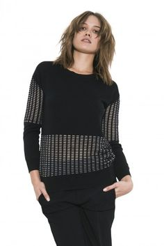 Miro Pullover by one grey day- Miro features our signature OGD ottoman grid stitch in clear yarn, in placement panels on the upper arms and lower torso. Turtle Neck, Pullover, Stitch, Fall 2015, Grey, Ottoman, Sweaters, Shirts, Clothes