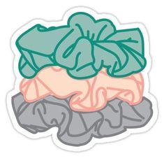 'Scrunchies' Sticker by courtneygraben Stickers Cool, Preppy Stickers, Printable Stickers, Laptop Stickers, Red Bubble Stickers, Journal Stickers, Scrapbook Stickers, Planner Stickers, Homemade Stickers