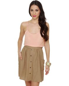 LuLu's Peach Cobbler Brown and Pink Dress $40.00