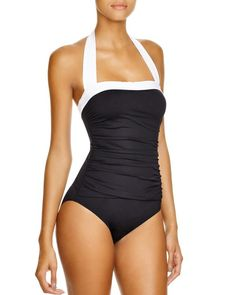 Lauren Ralph Lauren Bel Aire Maillot One Piece Swimsuit | Body 3: Polyester/elastane; lining: polyester/lycra | Hand wash | Imported | Square neck, fixed contrast halter strap ties at neck | Contrast