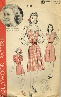 1940s Vintage Hollywood Starlet Sewing Pattern 1107 Misses Shorts and Blouse