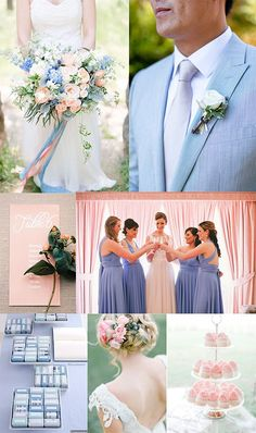 A Serenity Blue & Rose Quartz Wedding Inspiration Board combining the two Pantone colours of the year for 2015 into one Spring wedding inspiration. Periwinkle Wedding, Blush Pink Wedding Flowers, Blue And Blush Wedding, Burgundy Wedding, Rose Wedding, Dream Wedding, July Wedding, Rose Flowers, Purple Roses